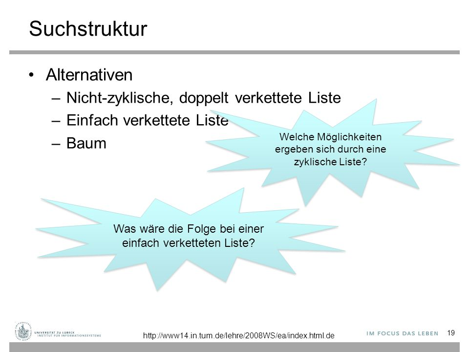 Suchstruktur Alternativen –Nicht-zyklische, doppelt verkettete Liste –Einfach verkettete Liste –Baum 19 http://www14.in.tum.de/lehre/2008WS/ea/index.h