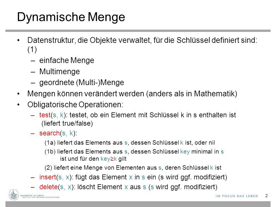 Dynamische Menge Datenstruktur, die Objekte verwaltet, für die Schlüssel definiert sind: (1) –einfache Menge –Multimenge –geordnete (Multi-)Menge Mengen können verändert werden (anders als in Mathematik) Obligatorische Operationen: –test(s, k): testet, ob ein Element mit Schlüssel k in s enthalten ist (liefert true/false) –search(s, k): (1a) liefert das Elements aus s, dessen Schlüssel k ist, oder nil (1b) liefert das Elements aus s, dessen Schlüssel key minimal in s ist und für den key≥k gilt (2) liefert eine Menge von Elementen aus s, deren Schlüssel k ist –insert(s, x): fügt das Element x in s ein (s wird ggf.