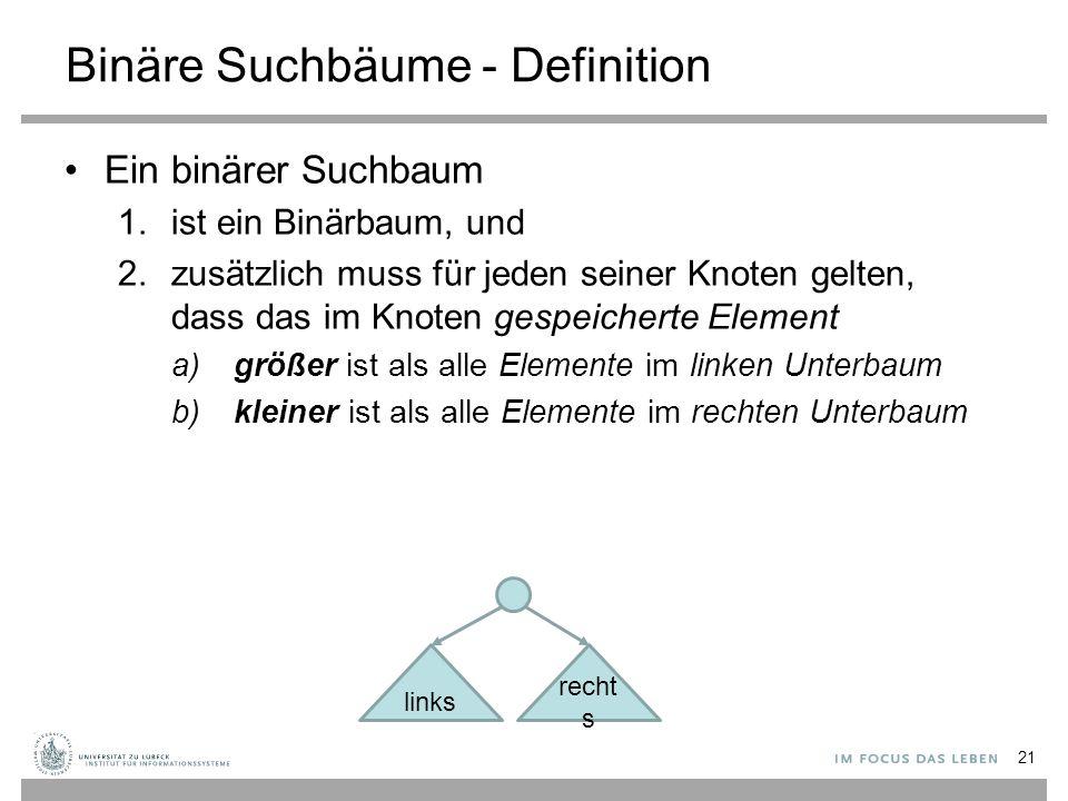 Binäre Suchbäume - Definition Ein binärer Suchbaum 1.ist ein Binärbaum, und 2.zusätzlich muss für jeden seiner Knoten gelten, dass das im Knoten gespeicherte Element a) größer ist als alle Elemente im linken Unterbaum b) kleiner ist als alle Elemente im rechten Unterbaum links recht s 21
