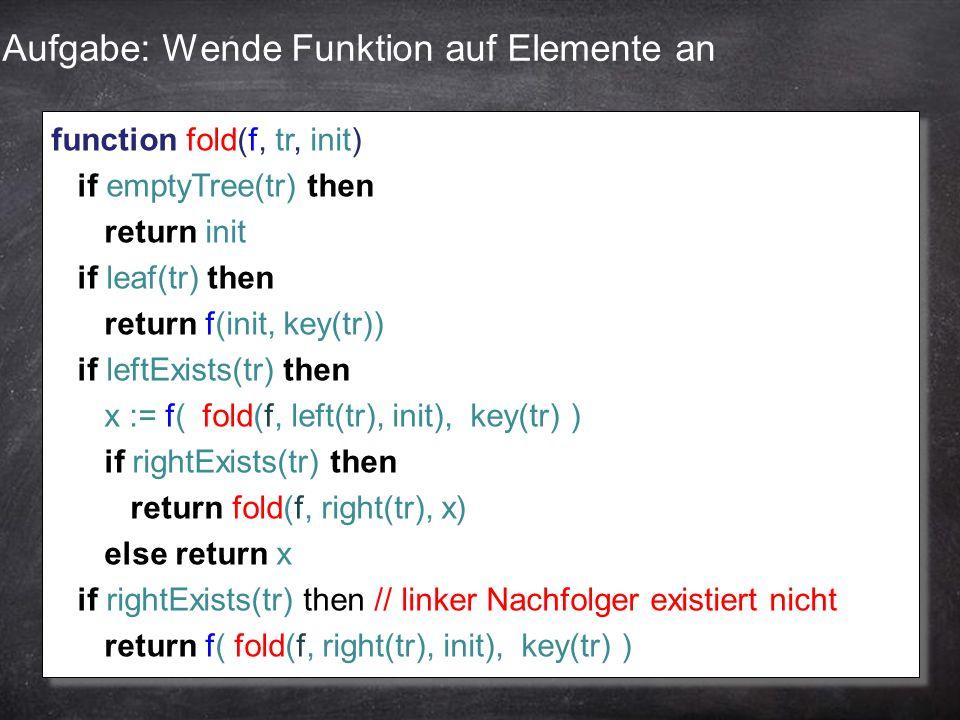 Aufgabe: Wende Funktion auf Elemente an function fold(f, tr, init) if emptyTree(tr) then return init if leaf(tr) then return f(init, key(tr)) if leftE