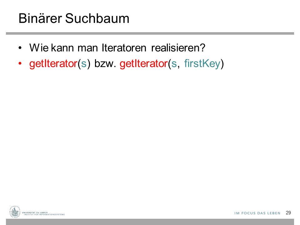 Binärer Suchbaum Wie kann man Iteratoren realisieren? getIterator(s) bzw. getIterator(s, firstKey) 29