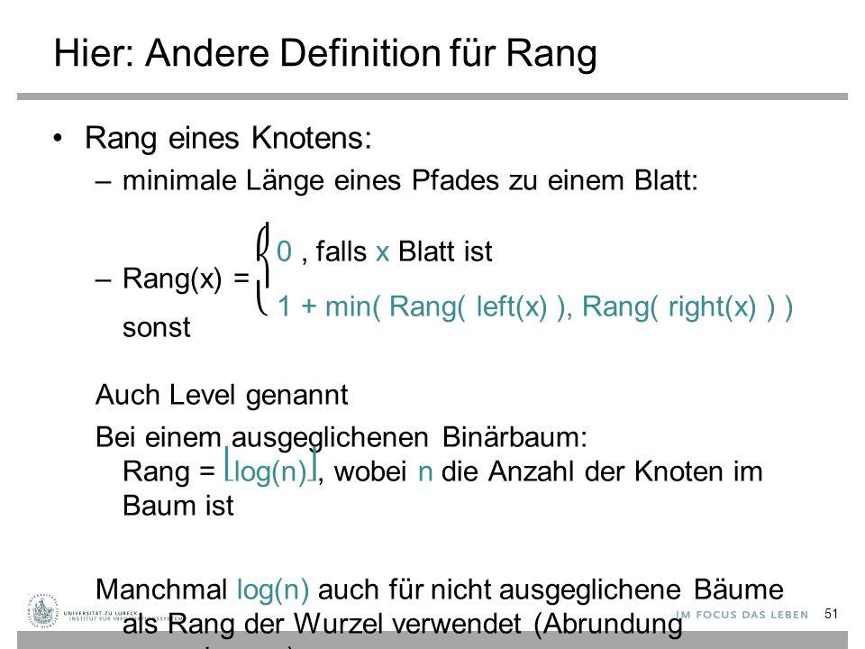 Hier: Andere Definition für Rang Rang eines Knotens: –minimale Länge eines Pfades zu einem Blatt: 0, falls x Blatt ist –Rang(x) = 1 + min( Rang( left(