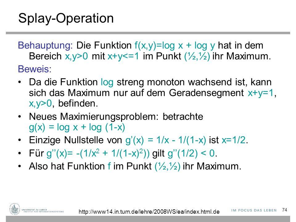 74 Splay-Operation Behauptung: Die Funktion f(x,y)=log x + log y hat in dem Bereich x,y>0 mit x+y<=1 im Punkt (½,½) ihr Maximum. Beweis: Da die Funkti