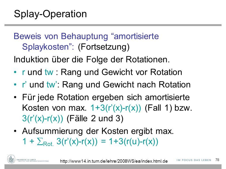 """78 Splay-Operation Beweis von Behauptung """"amortisierte Splaykosten"""": (Fortsetzung) Induktion über die Folge der Rotationen. r und tw : Rang und Gewich"""