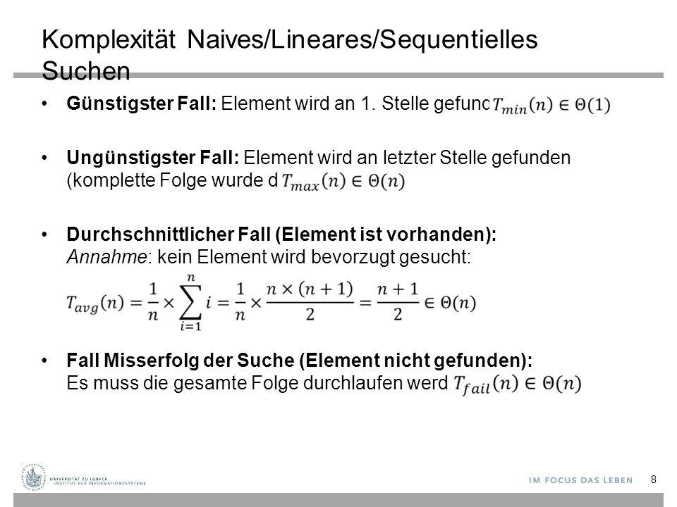 Komplexität Naives/Lineares/Sequentielles Suchen Günstigster Fall: Element wird an 1. Stelle gefunden: Ungünstigster Fall: Element wird an letzter Ste