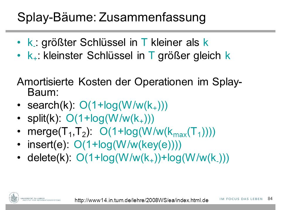 84 Splay-Bäume: Zusammenfassung k - : größter Schlüssel in T kleiner als k k + : kleinster Schlüssel in T größer gleich k Amortisierte Kosten der Operationen im Splay- Baum: search(k): O(1+log(W/w(k + ))) split(k): O(1+log(W/w(k + ))) merge(T 1,T 2 ): O(1+log(W/w(k max (T 1 )))) insert(e): O(1+log(W/w(key(e)))) delete(k): O(1+log(W/w(k + ))+log(W/w(k - ))) http://www14.in.tum.de/lehre/2008WS/ea/index.html.de