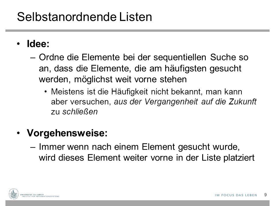Strategien von selbstanordnenden Listen MF - Regel, Move-to-front: Mache ein Element zum ersten Element der Liste, wenn nach diesem Element erfolgreich gesucht wurde.