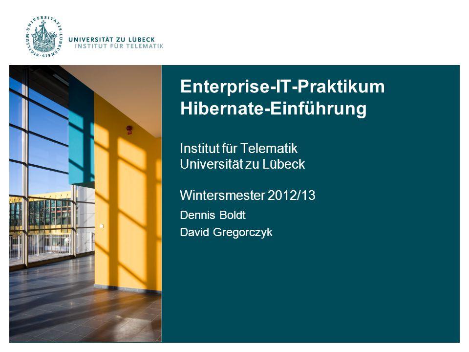 Enterprise-IT-Praktikum Hibernate-Einführung Institut für Telematik Universität zu Lübeck Wintersmester 2012/13 Dennis Boldt David Gregorczyk
