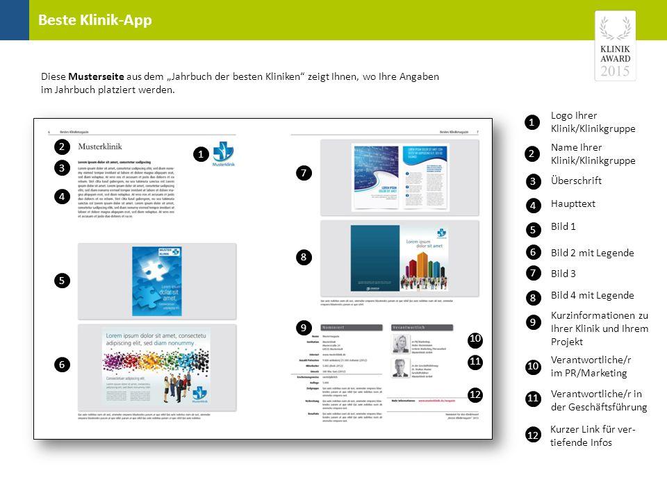"""Beste Klinik-App Diese Musterseite aus dem """"Jahrbuch der besten Kliniken"""" zeigt Ihnen, wo Ihre Angaben im Jahrbuch platziert werden. 2 1 3 3 1 4 Logo"""
