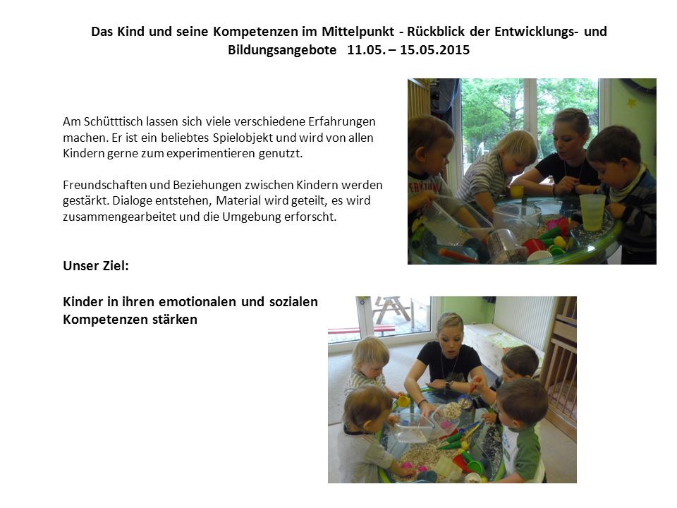 Das Kind und seine Kompetenzen im Mittelpunkt - Rückblick der Entwicklungs- und Bildungsangebote 11.05.