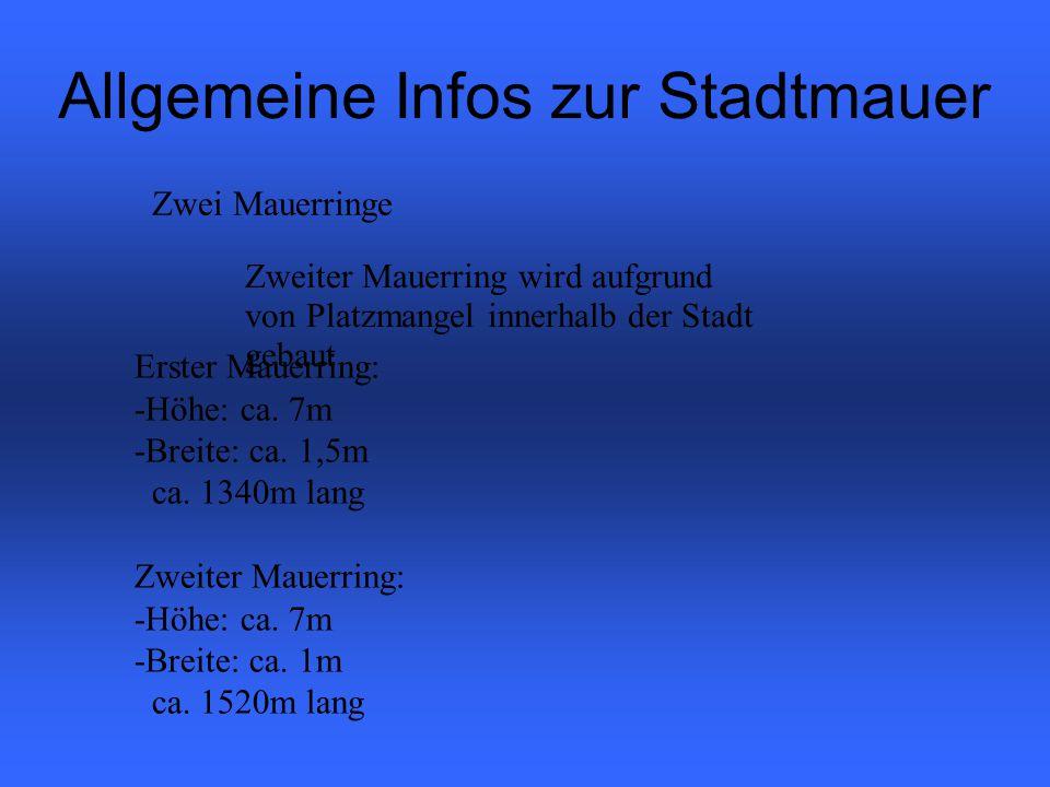 Allgemeine Infos zur Stadtmauer Zwei Mauerringe Zweiter Mauerring wird aufgrund von Platzmangel innerhalb der Stadt gebaut Erster Mauerring: -Höhe: ca.