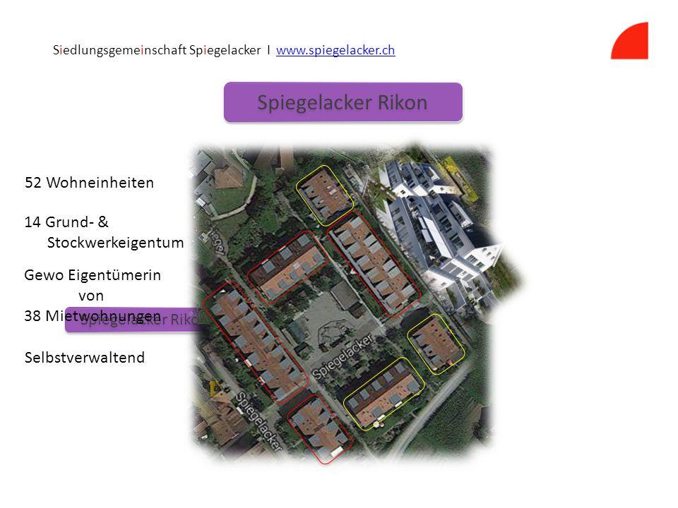 Spiegelacker Rikon Siedlungsgemeinschaft Spiegelacker I www.spiegelacker.chwww.spiegelacker.ch 52 Wohneinheiten 14 Grund- & Stockwerkeigentum Gewo Eigentümerin von 38 Mietwohnungen Selbstverwaltend