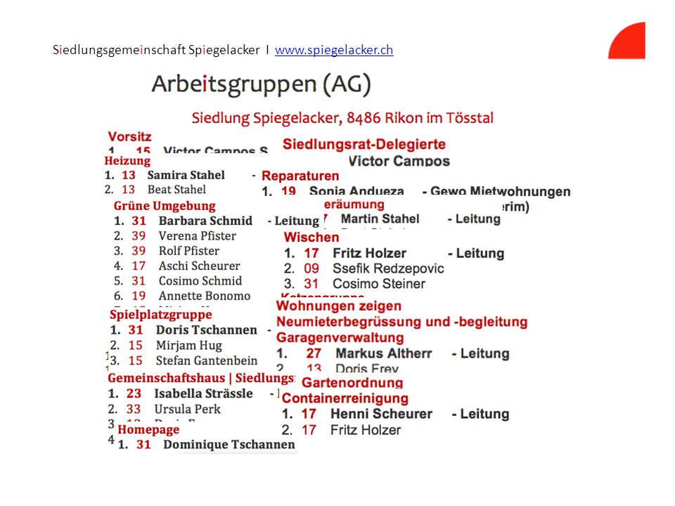 Siedlungsgemeinschaft Spiegelacker I www.spiegelacker.chwww.spiegelacker.ch