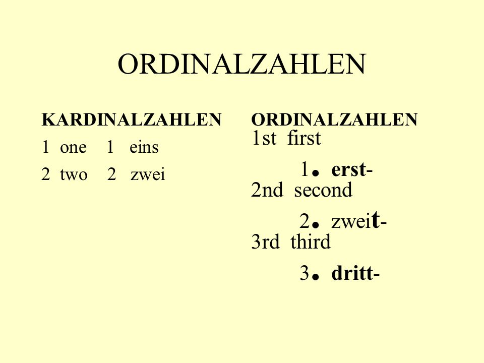 ORDINALZAHLEN KARDINALZAHLEN 1 one 1 eins 2 two 2 zwei ORDINALZAHLEN 1st first 1. erst- 2nd second 2. zwei t - 3rd third 3. dritt-