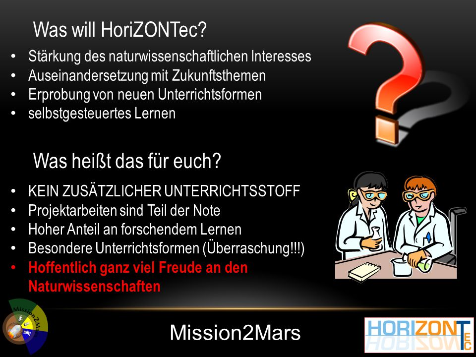 Mission2Mars Was will HoriZONTec.