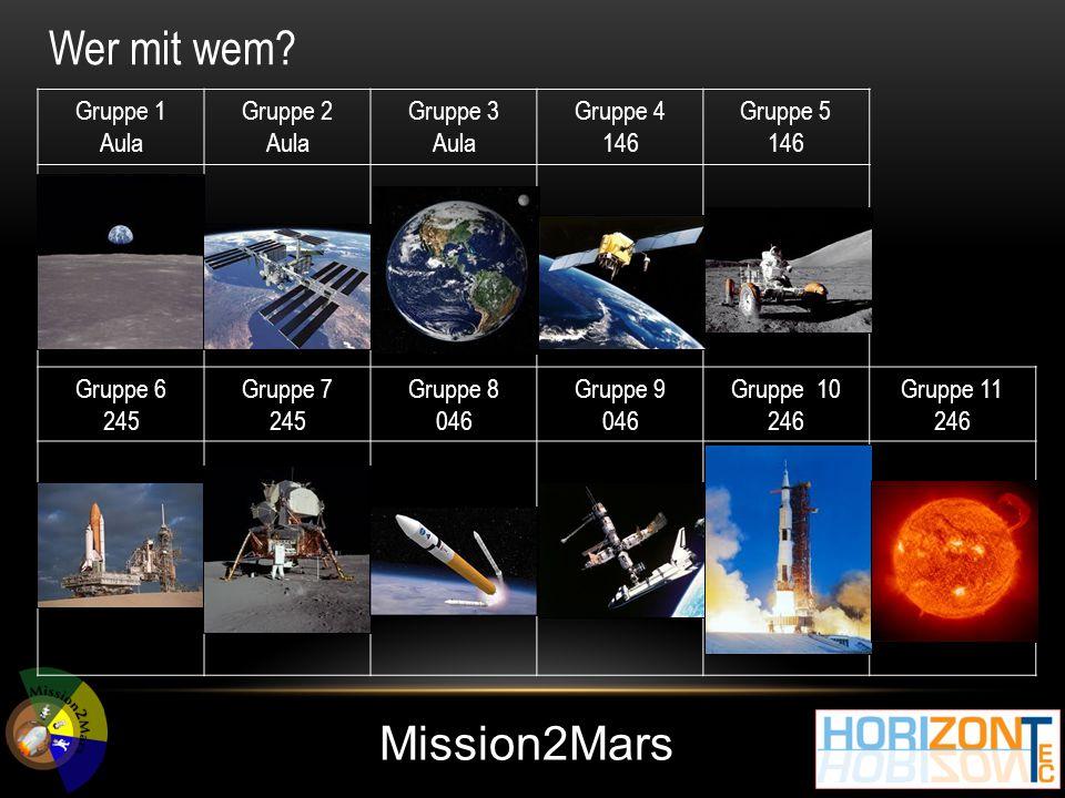 Mission2Mars Gruppe 1 Aula Gruppe 2 Aula Gruppe 3 Aula Gruppe 4 146 Gruppe 5 146 Gruppe 6 245 Gruppe 7 245 Gruppe 8 046 Gruppe 9 046 Gruppe 10 246 Gruppe 11 246 Wer mit wem