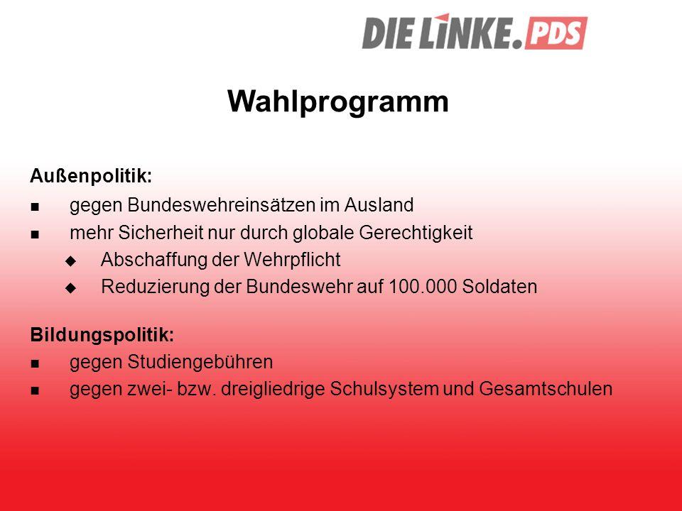Wahlprogramm Außenpolitik: gegen Bundeswehreinsätzen im Ausland mehr Sicherheit nur durch globale Gerechtigkeit  Abschaffung der Wehrpflicht  Reduzi