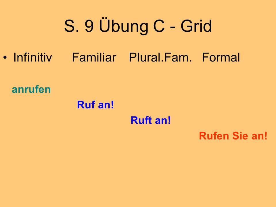 S. 9 Übung C - Grid Infinitiv Familiar Plural.Fam. Formal anrufen Ruf an! Ruft an! Rufen Sie an!