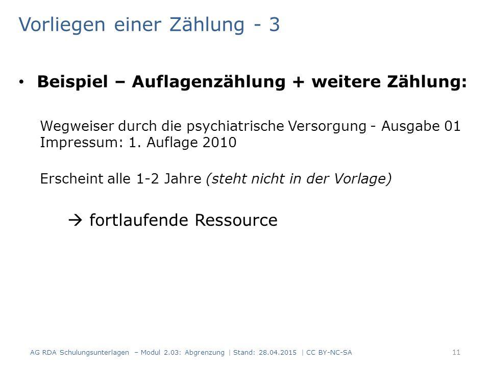Vorliegen einer Zählung - 3 Beispiel – Auflagenzählung + weitere Zählung: Wegweiser durch die psychiatrische Versorgung - Ausgabe 01 Impressum: 1.