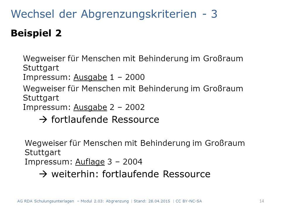 Wechsel der Abgrenzungskriterien - 3 Beispiel 2 Wegweiser für Menschen mit Behinderung im Großraum Stuttgart Impressum: Ausgabe 1 – 2000 Wegweiser für