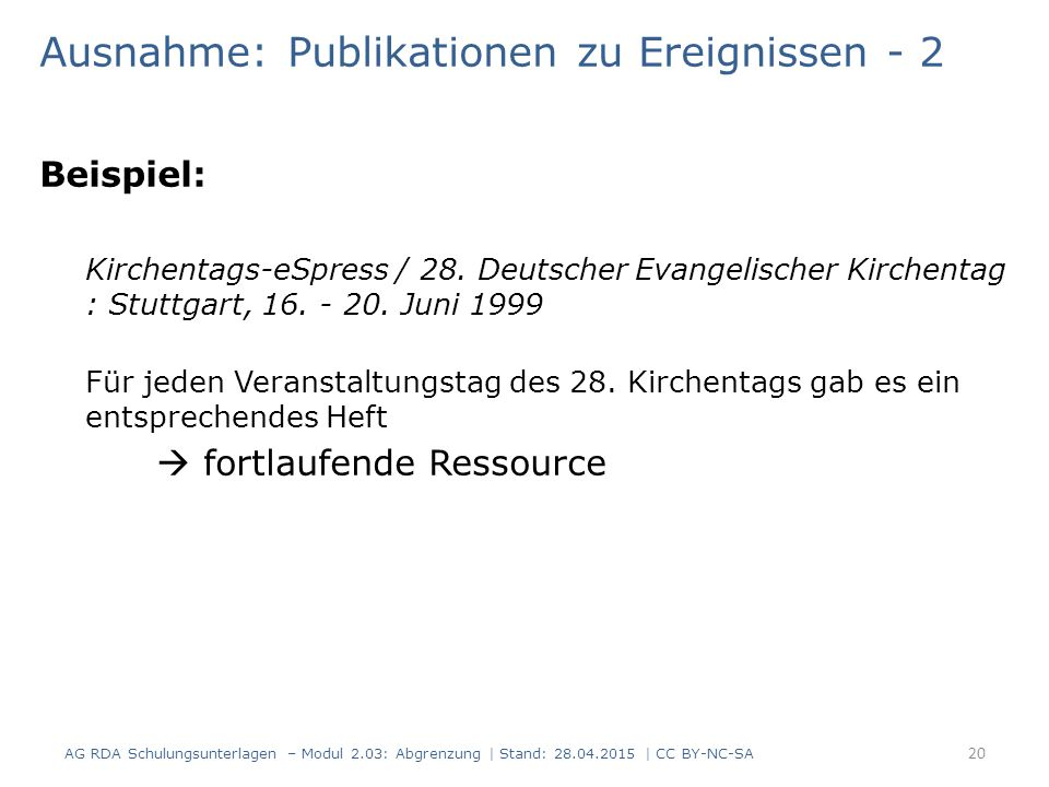 Ausnahme: Publikationen zu Ereignissen - 2 Beispiel: Kirchentags-eSpress / 28.