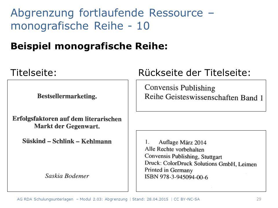 Beispiel monografische Reihe: Titelseite: Rückseite der Titelseite: 29 Abgrenzung fortlaufende Ressource – monografische Reihe - 10 AG RDA Schulungsunterlagen – Modul 2.03: Abgrenzung | Stand: 28.04.2015 | CC BY-NC-SA