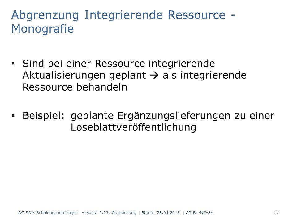 Abgrenzung Integrierende Ressource - Monografie Sind bei einer Ressource integrierende Aktualisierungen geplant  als integrierende Ressource behandeln Beispiel: geplante Ergänzungslieferungen zu einer Loseblattveröffentlichung 32 AG RDA Schulungsunterlagen – Modul 2.03: Abgrenzung | Stand: 28.04.2015 | CC BY-NC-SA