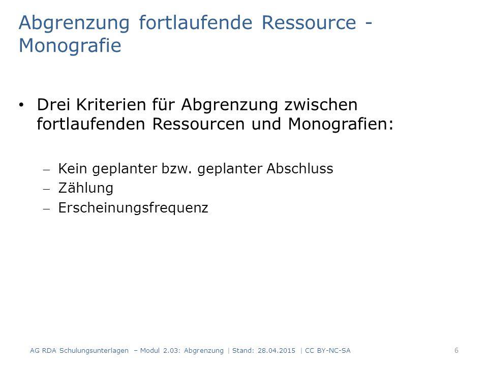 Abgrenzung fortlaufende Ressource - Monografie Drei Kriterien für Abgrenzung zwischen fortlaufenden Ressourcen und Monografien: Kein geplanter bzw. g