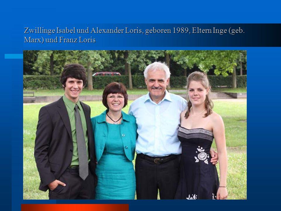 Zwillinge Isabel und Alexander Loris, geboren 1989, Eltern Inge (geb. Marx) und Franz Loris