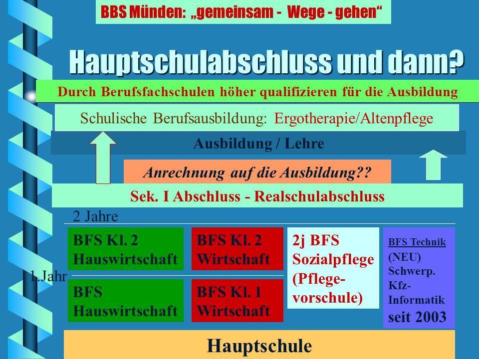"Hauptschulabschluss und dann? BBS Münden: ""gemeinsam - Wege - gehen"" Hauptschule (Klasse 9) LehreLehre Grundstufe Fachstufe 1 Fachstufe 2 Sek. I - Abs"