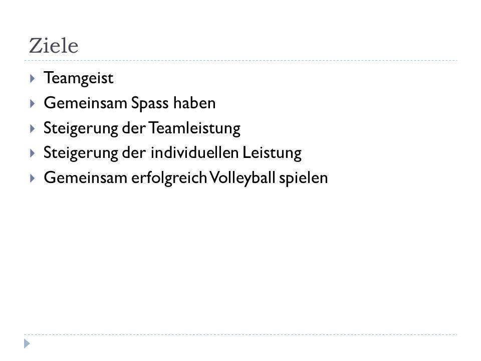 Ziele  Teamgeist  Gemeinsam Spass haben  Steigerung der Teamleistung  Steigerung der individuellen Leistung  Gemeinsam erfolgreich Volleyball spielen
