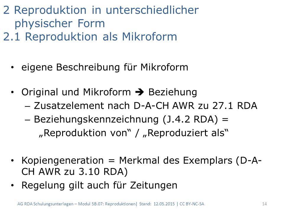 2 Reproduktion in unterschiedlicher physischer Form 2.1 Reproduktion als Mikroform eigene Beschreibung für Mikroform Original und Mikroform  Beziehun