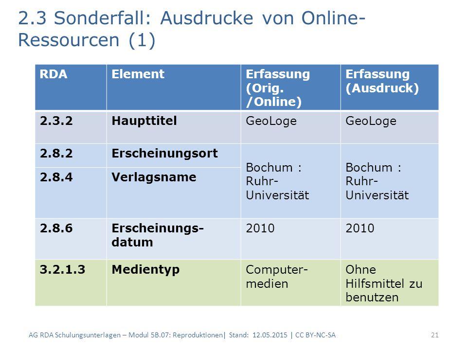 2.3 Sonderfall: Ausdrucke von Online- Ressourcen (1) 21 RDAElementErfassung (Orig. /Online) Erfassung (Ausdruck) 2.3.2HaupttitelGeoLoge 2.8.2Erscheinu