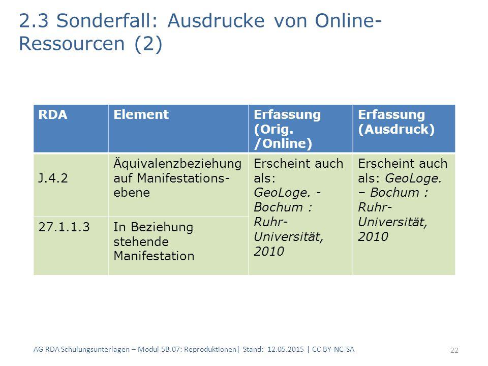 2.3 Sonderfall: Ausdrucke von Online- Ressourcen (2) 22 RDAElementErfassung (Orig. /Online) Erfassung (Ausdruck) J.4.2 Äquivalenzbeziehung auf Manifes