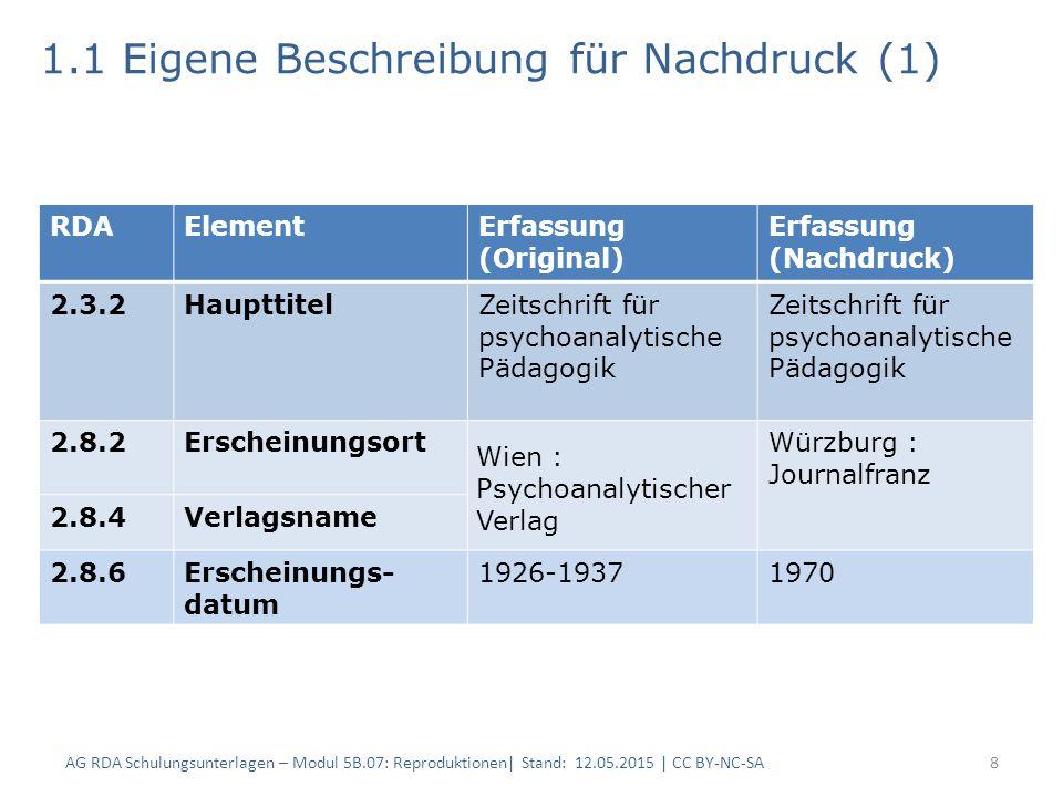 1.1 Eigene Beschreibung für Nachdruck (1) 8 RDAElementErfassung (Original) Erfassung (Nachdruck) 2.3.2HaupttitelZeitschrift für psychoanalytische Päda
