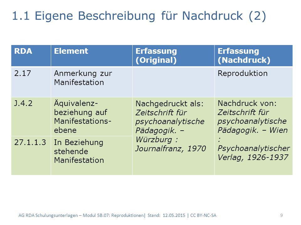 1.1 Eigene Beschreibung für Nachdruck (2) 9 RDAElementErfassung (Original) Erfassung (Nachdruck) 2.17Anmerkung zur Manifestation Reproduktion J.4.2Äqu