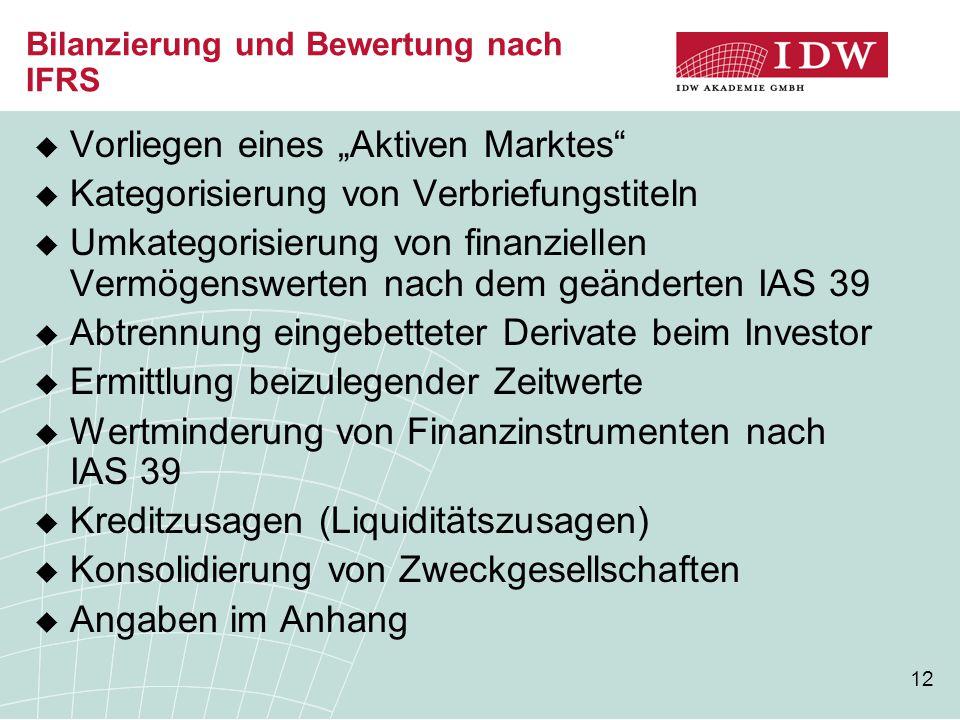 """12 Bilanzierung und Bewertung nach IFRS  Vorliegen eines """"Aktiven Marktes""""  Kategorisierung von Verbriefungstiteln  Umkategorisierung von finanziel"""