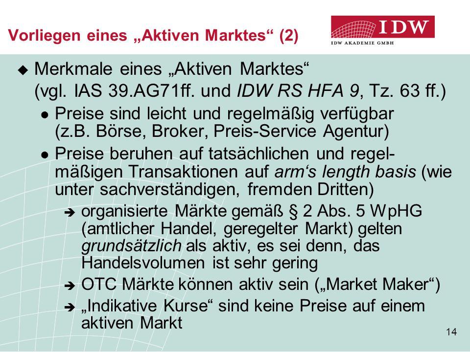 """14 Vorliegen eines """"Aktiven Marktes"""" (2)  Merkmale eines """"Aktiven Marktes"""" (vgl. IAS 39.AG71ff. und IDW RS HFA 9, Tz. 63 ff.) Preise sind leicht und"""