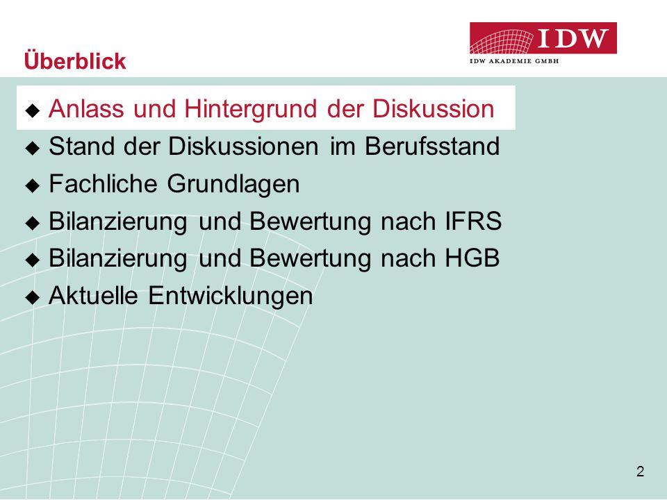 2 Überblick  Anlass und Hintergrund der Diskussion  Stand der Diskussionen im Berufsstand  Fachliche Grundlagen  Bilanzierung und Bewertung nach I