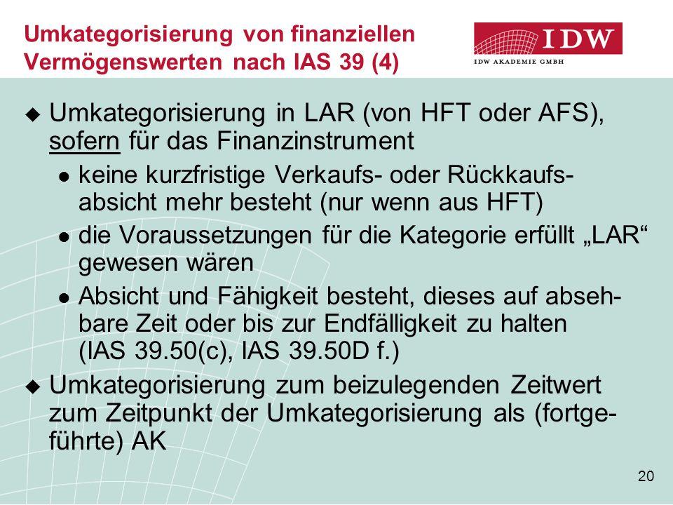 20 Umkategorisierung von finanziellen Vermögenswerten nach IAS 39 (4)  Umkategorisierung in LAR (von HFT oder AFS), sofern für das Finanzinstrument k