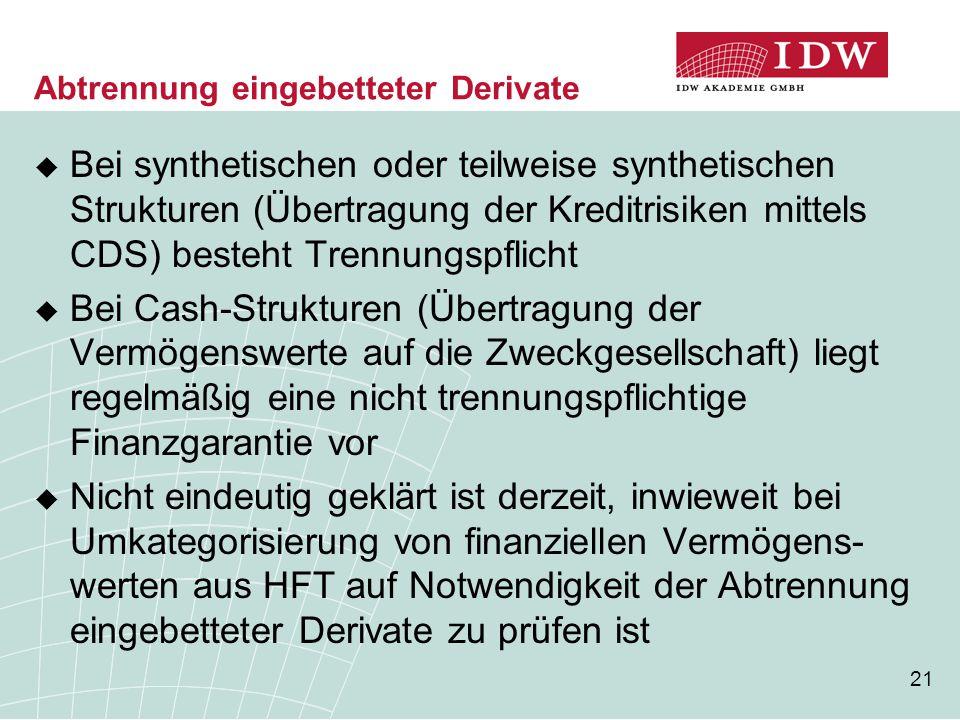21 Abtrennung eingebetteter Derivate  Bei synthetischen oder teilweise synthetischen Strukturen (Übertragung der Kreditrisiken mittels CDS) besteht T
