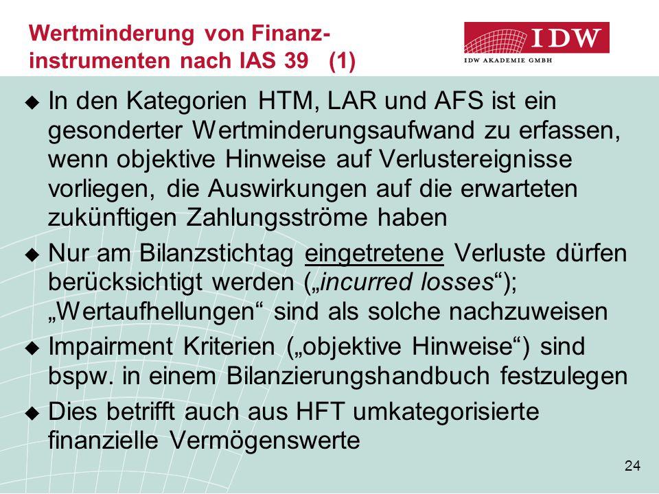 24 Wertminderung von Finanz- instrumenten nach IAS 39 (1)  In den Kategorien HTM, LAR und AFS ist ein gesonderter Wertminderungsaufwand zu erfassen,