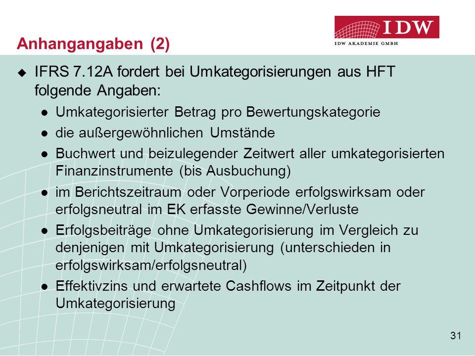 31 Anhangangaben (2)  IFRS 7.12A fordert bei Umkategorisierungen aus HFT folgende Angaben: Umkategorisierter Betrag pro Bewertungskategorie die außer