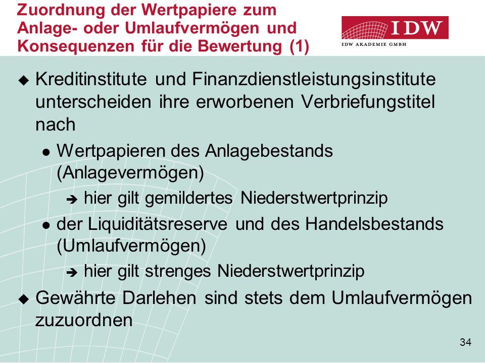 34 Zuordnung der Wertpapiere zum Anlage- oder Umlaufvermögen und Konsequenzen für die Bewertung (1)  Kreditinstitute und Finanzdienstleistungsinstitu