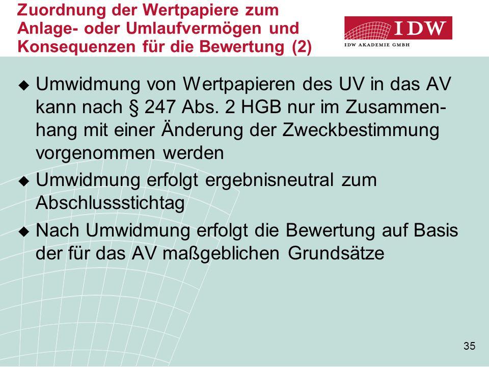 35 Zuordnung der Wertpapiere zum Anlage- oder Umlaufvermögen und Konsequenzen für die Bewertung (2)  Umwidmung von Wertpapieren des UV in das AV kann