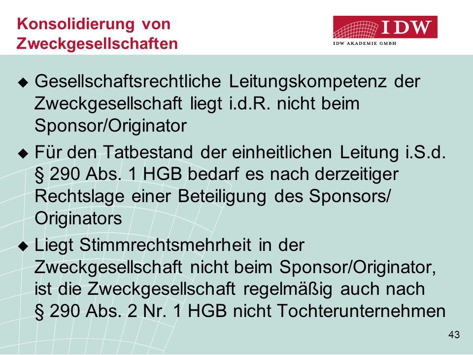 43 Konsolidierung von Zweckgesellschaften  Gesellschaftsrechtliche Leitungskompetenz der Zweckgesellschaft liegt i.d.R. nicht beim Sponsor/Originator