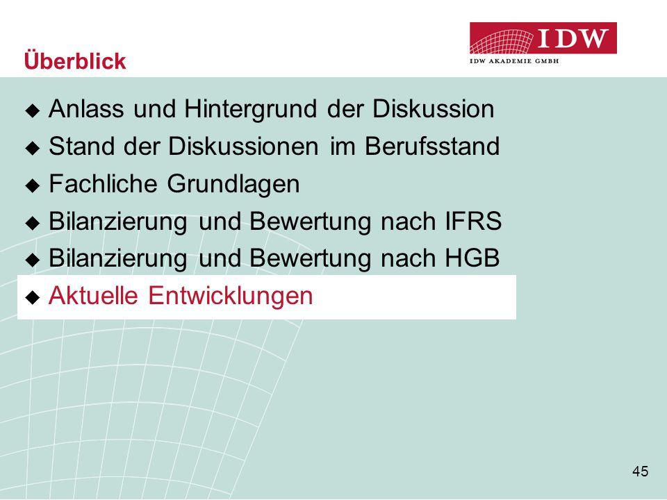 45  Anlass und Hintergrund der Diskussion  Stand der Diskussionen im Berufsstand  Fachliche Grundlagen  Bilanzierung und Bewertung nach IFRS  Bil