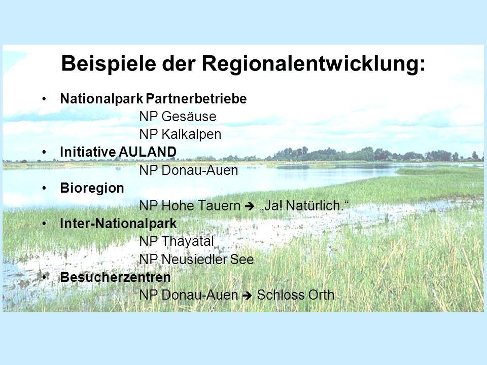 """Beispiele der Regionalentwicklung: Nationalpark Partnerbetriebe NP Gesäuse NP Kalkalpen Initiative AULAND NP Donau-Auen Bioregion NP Hohe Tauern  """"Ja."""