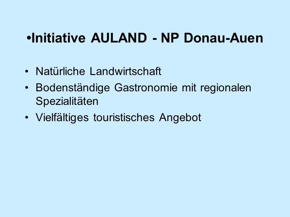 Initiative AULAND - NP Donau-Auen Natürliche Landwirtschaft Bodenständige Gastronomie mit regionalen Spezialitäten Vielfältiges touristisches Angebot