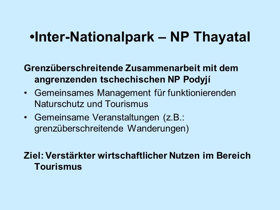 Inter-Nationalpark – NP Thayatal Grenzüberschreitende Zusammenarbeit mit dem angrenzenden tschechischen NP Podyjí Gemeinsames Management für funktionierenden Naturschutz und Tourismus Gemeinsame Veranstaltungen (z.B.: grenzüberschreitende Wanderungen) Ziel: Verstärkter wirtschaftlicher Nutzen im Bereich Tourismus